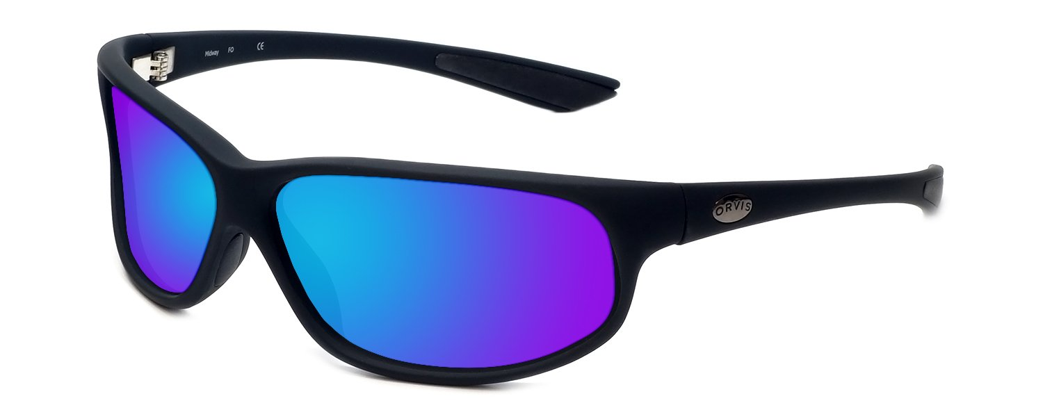 Orvis Midway Polarized Sunglasses in Matte-Black & Blue Mirror Lens by Orvis