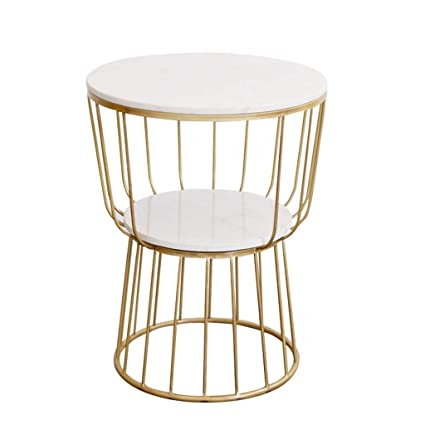 Exquisite Side Table Double Marble Tabletop Wrought Iron