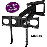 MantelMount MM340 Above Fireplace Pull Down TV Mount - with patented auto-straightening, auto-stabilization, 2 premium gas pistons, adjustable motion stops, wire management & safety pull-down handles