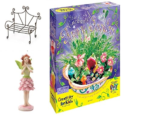 Fairy Garden Kit: Enchanted Fairy Garden Kit W/Plants, Bench, Winged Fairy