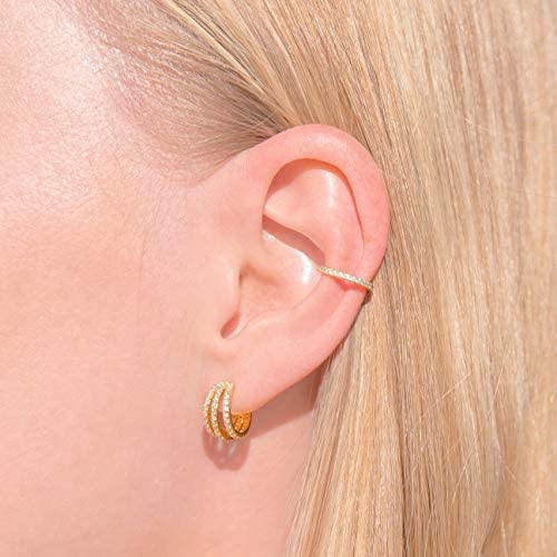 Colorful Elegant Lightweight 3 Tiered Rock with 14k Gold Played Mini HoopsHuggies