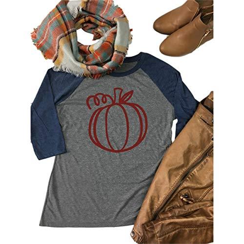 Camisetas con estampado de raglán con estampado de calabazas, manga 3/4, manga larga, para mujer, de Pactwhrok (Color :...