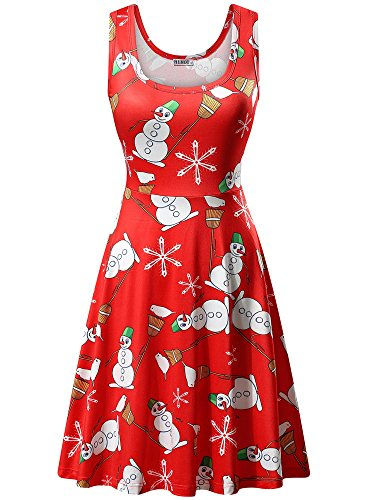 HUHOT Midi Dresses, Women Xmas Winter Christmas Novelty Flare Tank Dress(Small, Red Snowman-3)