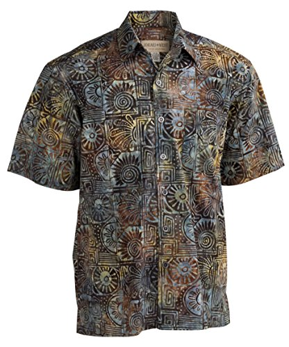 Johari West Indo Bay Tropical Hawaiian Cotton Batik Shirt (2XLT, - Sleeve Hem Short Cotton