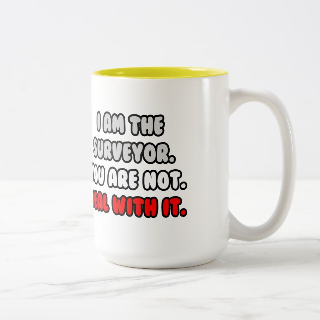 Zazzle Deal With It。。。面白いSurveyor旅行マグ 15 oz, Two-Tone Mug イエロー 0872148b-cf34-ba00-6662-a231d4160685 B0788HD9SL 15 oz, Two-Tone Mug|イエロー イエロー 15 oz, Two-Tone Mug