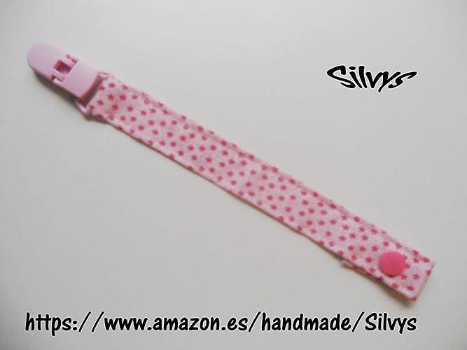Chupetero de tela con clip Silvys, de color rosa, sujeta el chupete de ...
