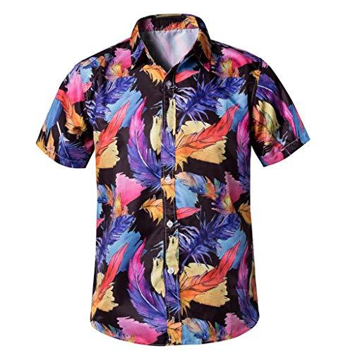Men's Tropical Hawaiian Shirt Casual Button Down Short Sleeve Shirt tronet Spring Summer Fashion Couple Personal Printed Hawaiian Short-Sleeved Beach Tops (Best Paintball Jersey 2019)