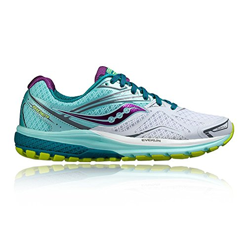 Saucony Women's Ride 9 W Running Shoes, White/Teal/Purple Multicolour (White/Teal/Purple)