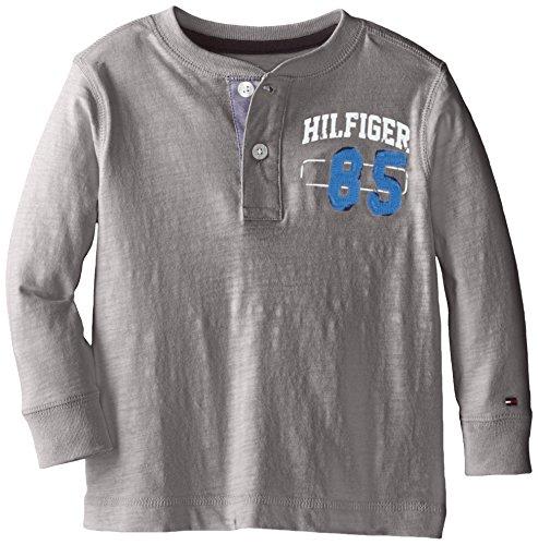 Tommy Hilfiger Toddler Boys' Long Sleeve 85 Henley, Steel Grey, 02 Regular