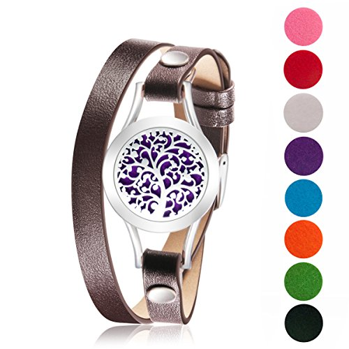 Tree of Life Aromatherapy oil diffuser bracelet Brown Genuine Leather wrap Hypo-allergenic Surgical Steel Locket Bracelet Free -