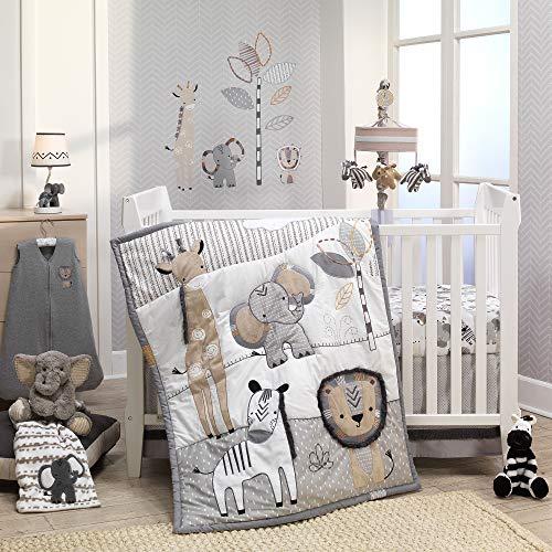 Lambs & Ivy Jungle Safari Gray/Tan/White Nursery 6-Piece Baby Crib Bedding ()
