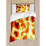 Burnt Orange Duvet Cover Set by Ambesonne, Hot Burning Lava Texture Bursting Fire Flames Volcanic Heated Magma Image, 2 Piece Bedding Set with Pillow Sham, Twin / Twin XL, Orange Yellow