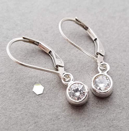 Earrings Dangle Cz - Sterling silver earrings with CZ dangle