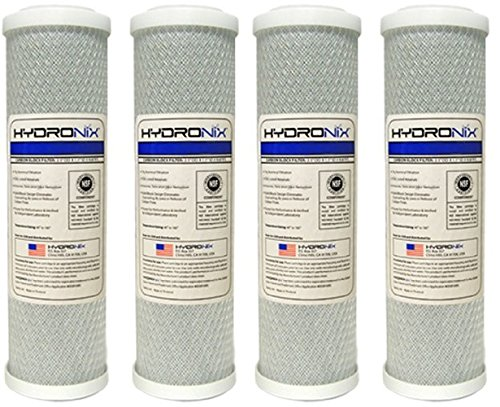 Hydronix CB-25-1005 NSF Carbon Block Filter 2.5'' OD X 9 7/8'' Length, 5 Micron (4-Pack) by Hydronix
