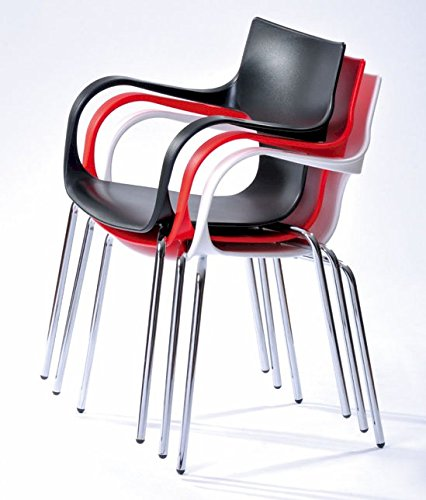 Mod Made Modern Contermporary Phin Arm Chair Dining Chair, Red, Set of 2 - Durable and easy to maintain Plastic with chromed steel legs Stackable for easy storage - kitchen-dining-room-furniture, kitchen-dining-room, kitchen-dining-room-chairs - 51xyu0yJFBL -