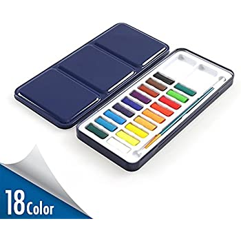 Watercolor Paint Set with Paintbrush Included – 18 Assorted Colors Half Pan Solid Cake Watercolor Set Travel - Portable Field Sketch Metal Box with Built-In Blend and Mix Palette for Kid Adult Artist