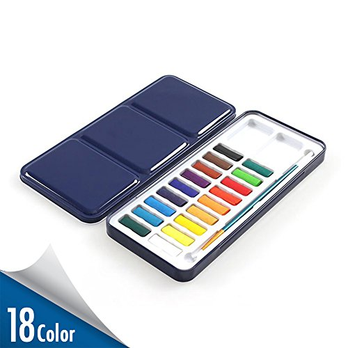 Watercolor Paint Set with Paintbrush Included  18 Assorted Colors Half Pan Solid Cake Watercolor Set Travel - Portable Field Sketch Metal Box with Built-In Blend and Mix Palette for Kid Adult Artist