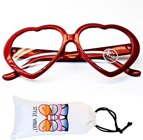 E3079-vp Heart Love clear lens Glasses party sunglasses (B3324F Red, - Sunglasses Gomez Red Selena