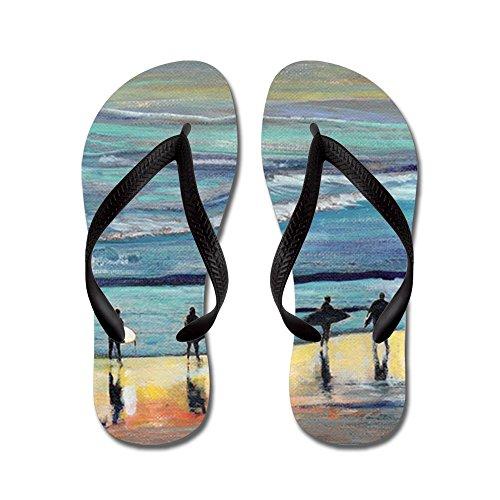 Cafepress Surfer Painting Di Rd Riccoboni - Infradito, Divertenti Sandali Infradito, Sandali Da Spiaggia Neri