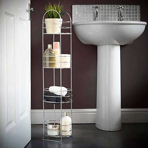 amazoncom vonhaus 4 tier chrome bathroom storage organizer stand space saver floor shelf rack for bathroom accessories home kitchen - Bathroom Accessories Dubai