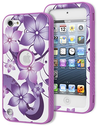 iPod Touch 5 Case, Bastex Heavy Duty Hybrid Case - Soft Lavender Purple Silicone Cover Hard White with Purple Flowers Design Case for Apple iPod Touch 5 [Compatible with iPod Touch 6]