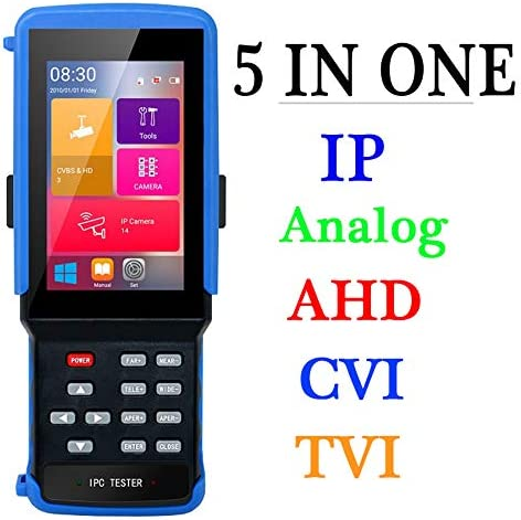 4 Inch Portable CCTV Tester Up to 4K 8MP H265 Camera-Support IP,CVBS Analog Camera,AHD,TVI,CVI-Built in WiFi PoE Power Output,PTZ Control Onvif