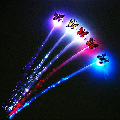 ASSIS LED Butterfly Fiber Optic Flashing Hair Braid Extensions Light Up Flash Barrette Clip Braid - Various Style(small) - Shrek Cat Costume