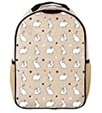 SoYoung Toddler Backpack - Raw Linen, Eco-Friendly, Non-Toxic, Retro-Inspired Design (Bunny Tile)