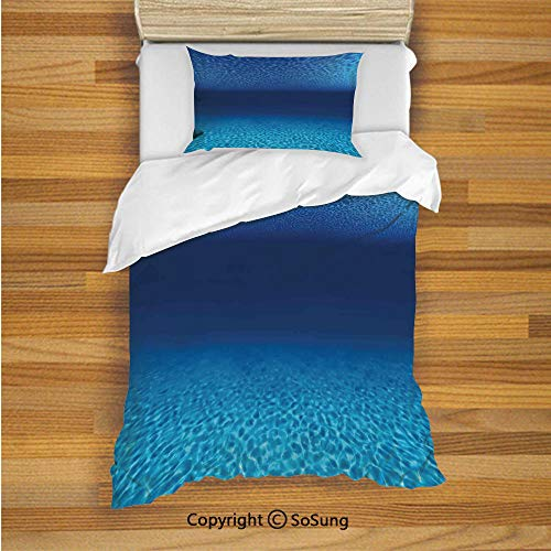 Ocean Decor Kids Duvet Cover Set Twin Size, Bright Sandy Bottom and Tranquil Surface Tropical Seascape Abyss Underwater 2 Piece Bedding Set with 1 Pillow Sham,