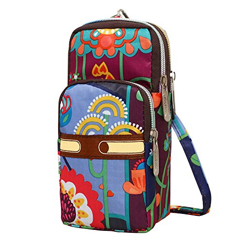 Shoulder Resistant Flower Bags Beautiful Womens Small Wristlet Bags Nylon Wocharm Water Crossbody UqCXnxwn8