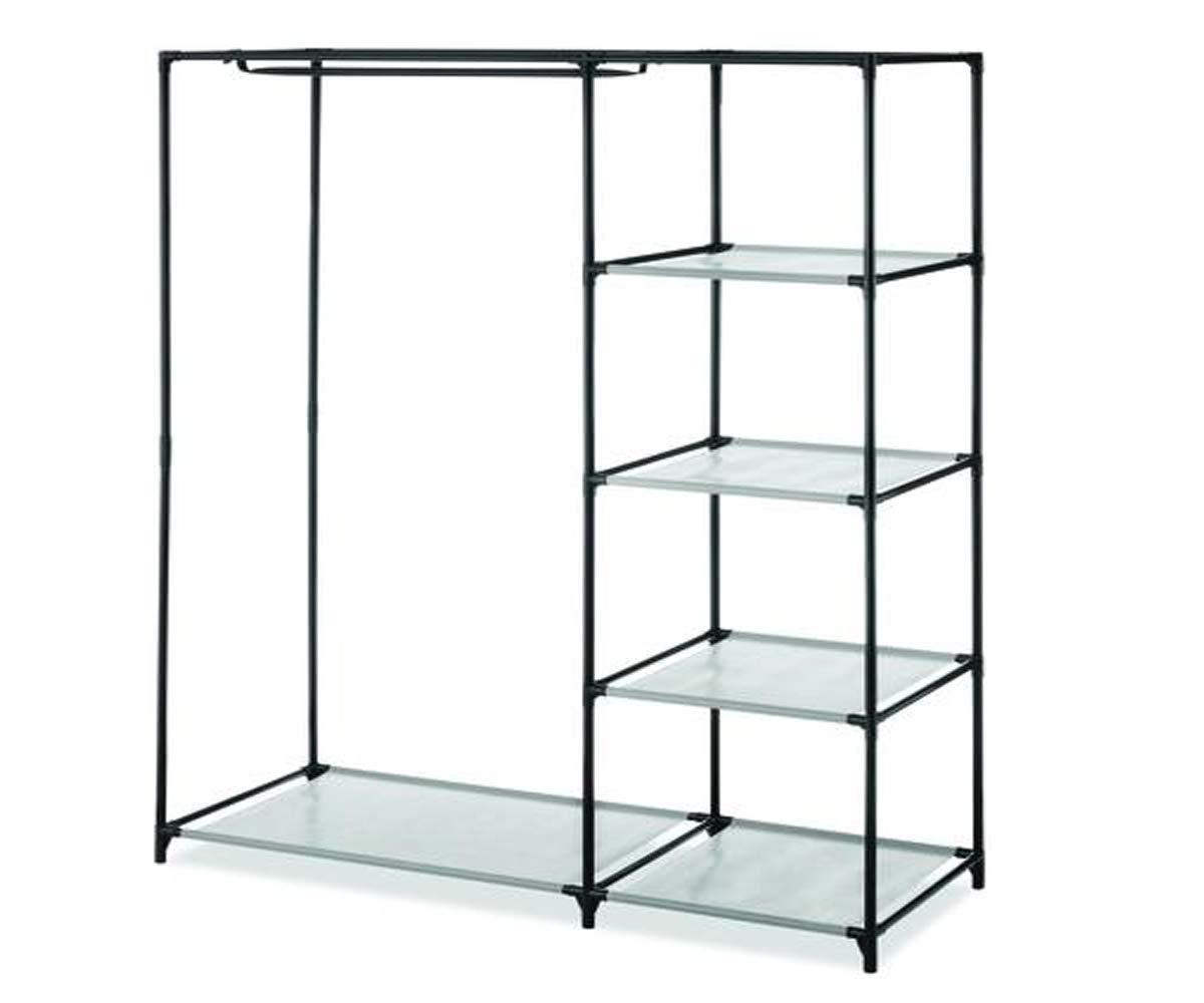 MS Home Wardrobe Garment Rack Steel Hanging Bar 4 Shelves Closet Organizer - Space Saver Freestanding - 17.5'' L x 46'' W x 58'' H in Black
