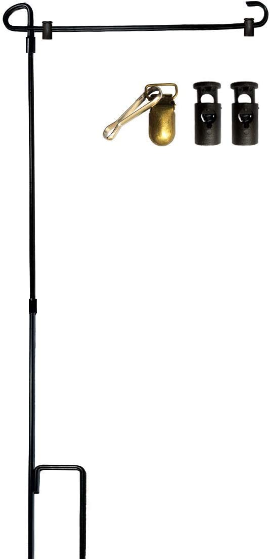 VIEKEY Garden Flag Stand Iron Garden Flag Holder Pole Stakes with 2 Flag Stopper and 1 Clip for Outdoor Hold Decorative Flag