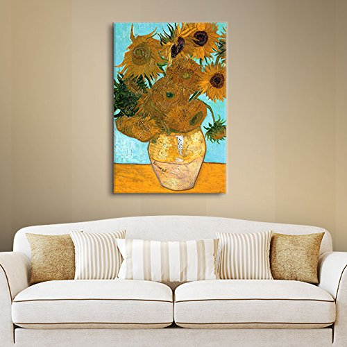 Art Walls Vase with Twelve Sunflowers Gallery Wrapped Canvas by Vincent Van Gogh, 14 by 18-Inch