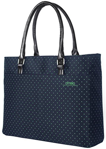 Ladies Briefcase Green (Laptop Tote Bag, DTBG 15.6 Inch Women Shoulder Bag Nylon Briefcase Casual Handbag Laptop Case For 15 - 15.6 Inch Tablet / Ultra-book / Macbook / Chromebook (Blue+Green Dot))