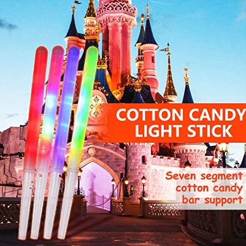 Jiangmei 7 Mode LED Glowing Cotton Candy Cones,Cotton Candy Sticks Adopted for All Type Cotton Candy Machine,Light Up Marshmallow Sticks Bring More Pleasure for Kids,Safety Food Grade Material Made