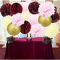 Bridal Shower Decorations Burgundy Pink Cream Glitter Gold Tissue Pom Pom Flower Paper Lanterns Honeycomb Balls Wedding Engagement Party Supplies