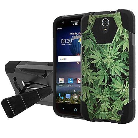 ZTE [Warp 7][Grand X3][ZMAX Champ][Avid 916][ZMAX 3][ZMAX Grand] Combat Case [NakedShield] [Black/Black] Heavy Duty Shock Proof Armor Art [Kickstand] - [Marijuana (Zte Zmax Phone Case Marijuana)