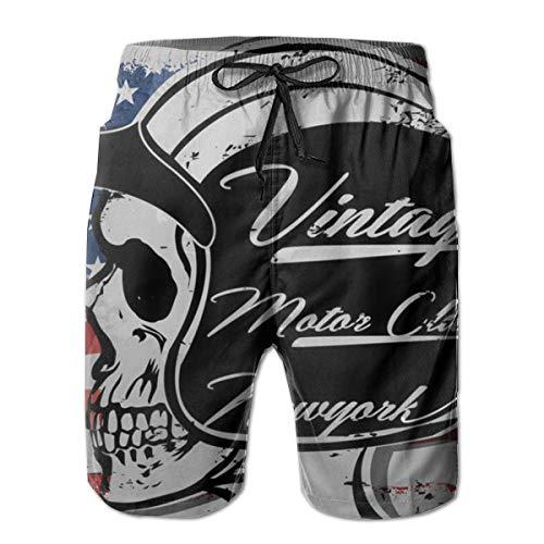 - Mens Beach Shorts America Motorcycle Riders Swim Trunks Boardshort Pants Quick Dry White