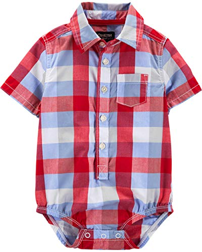 - Osh Kosh Baby Boys Short-Sleeve Woven Bodysuit, Red Blue Plaid, 24 Months