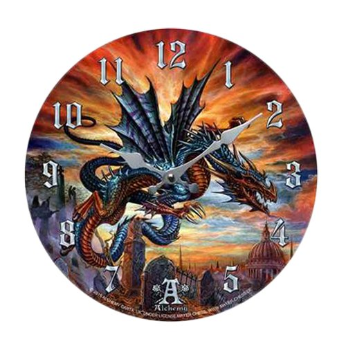 (The Highgate Horror Bloodlust Dragon Wall Clock By Alchemy Gothic Round Plate)