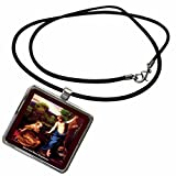 3dRose Sandy Mertens Easter Vintage - Jesus and Mary Magdalene - Necklace With Rectangle Pendant (ncl_42958_1)