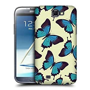 AIYAYA Samsung Case Designs Blue Butterfly Pattern Protective Snap-on Hard Back Case Cover for Samsung Galaxy Note 2 II N7100