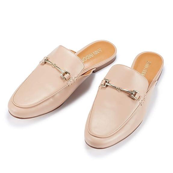 4872fda995bdf Women's Pink Mule Flats Shoes Pointed Toe Backless Slipper Slip On ...