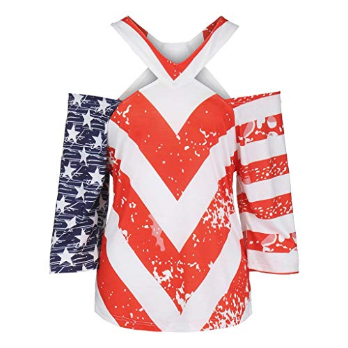 Barthylomo Patriotic Shirts for Women, Short Sleeve Vest Stripes Star Tank Top Loose T Shirt Blouse