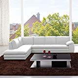 JM Furniture 625 Italian Leather Left Sectional in White
