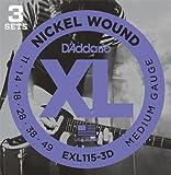 D'Addario EXL115-3D Nickel Wound Electric Guitar Strings, 3 Sets, Medium/Blues-Jazz Rock, 11-49, 3 Sets