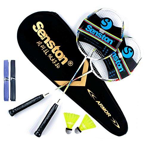 Senston Badminton Set, Two Graphite Shaft Badminton Racquet,Badminton Racket Set,Including Badminton Bag,Set of 2