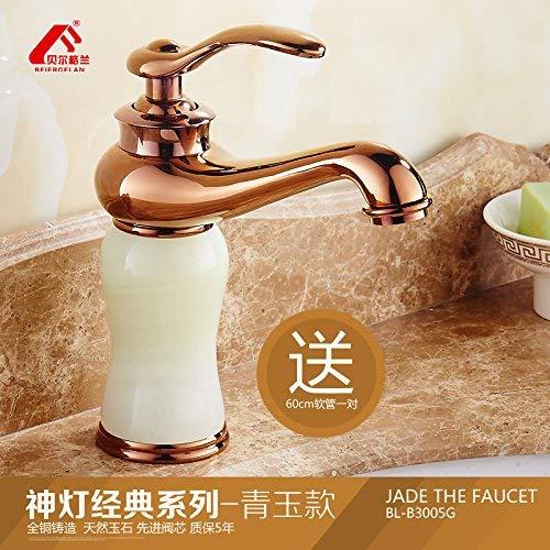JingJingnet 洗面器ミキサータップヨーロッパの蛇口は、ホットとコールドの天然グリーンジェイドシンクの蛇口フル銅洗面台の蛇口のローズゴールドベイスン (Color : 3) B07S4KPH99 3