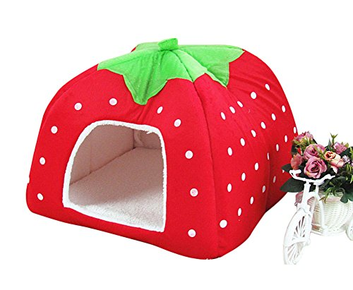 Costume Pattern Dogs Flying For Monkey (Freerun Cute Soft Strawberry Small Cotton Soft Dog Cat Pet Bed House (Red,)