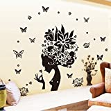Wall Decal Sticker On The Wall Removable Wall Stickers Black Rose Girl Wall Mural Paster Kids Rooms